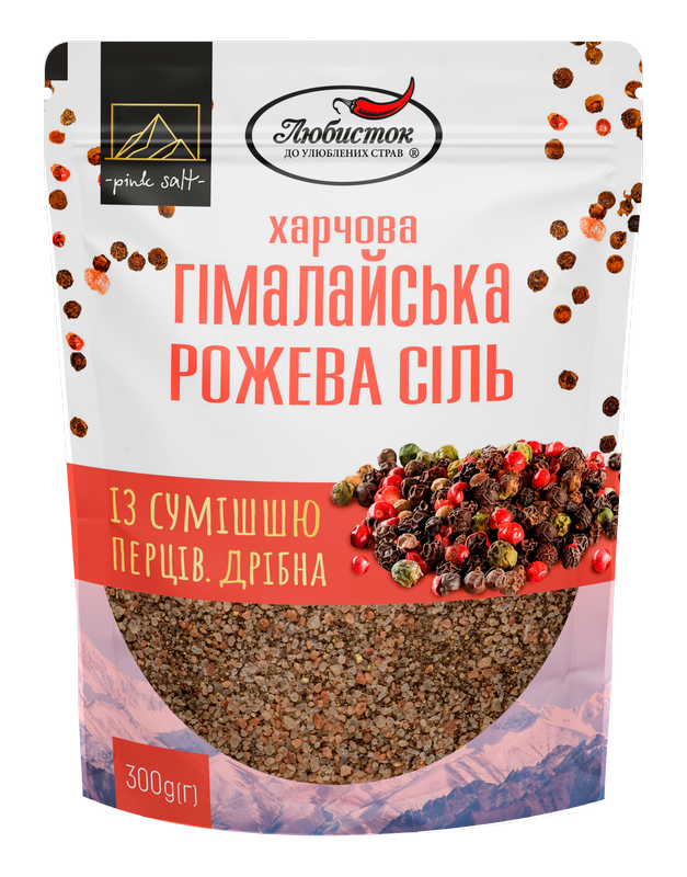 Himalayan pink salt with a mixture of peppers. Small pack
