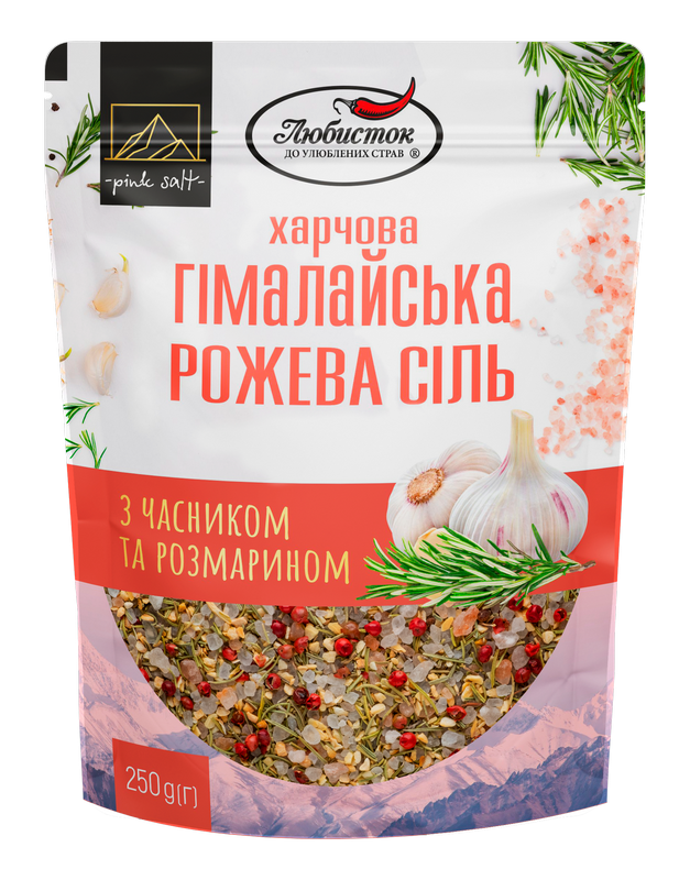 Himalayan pink salt with garlic and rosemary. Large pack